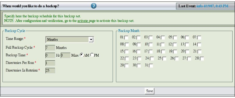 Fig 3.  Backup When Month choice